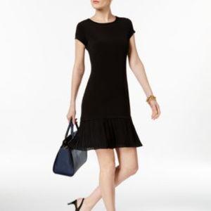 Michael Kors Pleated-Hem Fit Flare Dress Black PL